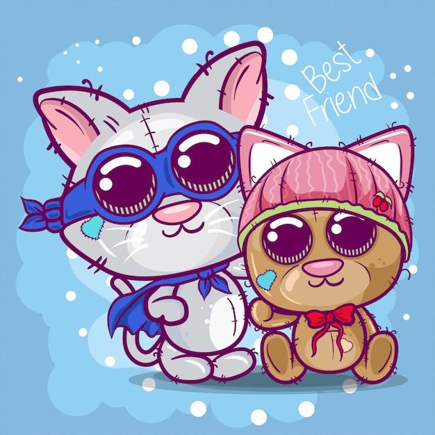 Carte de voeux de douche de bébé avec mignon chaton et ours de bande dessinée Vecteur Premium