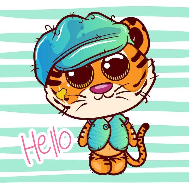 Carte de voeux de douche de bébé avec mignon garçon tigre cartoon - vecteur Vecteur Premium