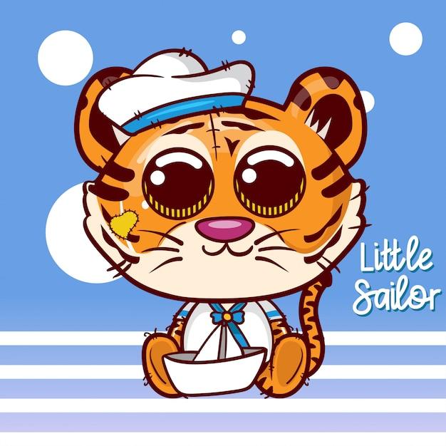 Carte de voeux de douche de bébé avec tigre marin mignon - vecteur Vecteur Premium