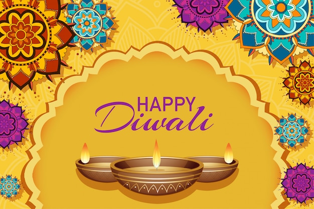 Carte de voeux du festival de diwali Vecteur gratuit