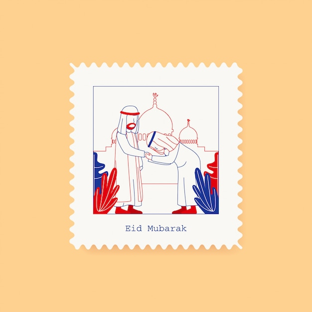 Carte de voeux eid mubarak postcard stamp Vecteur Premium