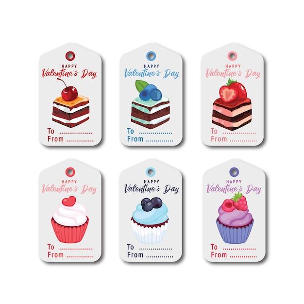 Carte De Voeux Et étiquette Plate De La Saint-valentin Vecteur Premium