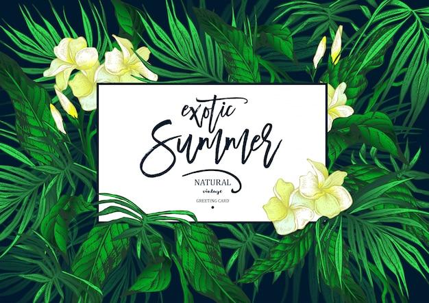 Carte de voeux exotique vintage summer vector leaves Vecteur Premium