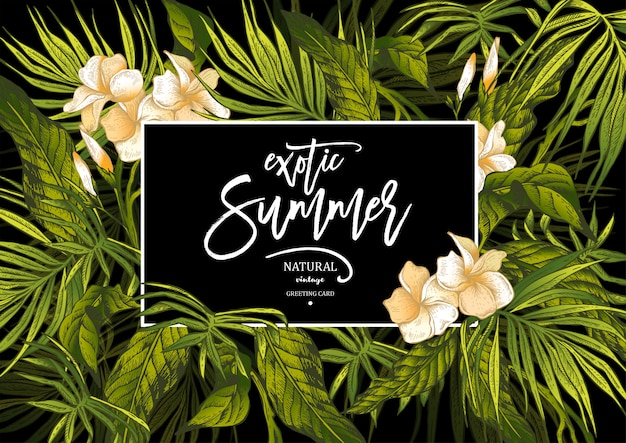 Carte de voeux exotique vintage summer vector leaves Vecteur Premium