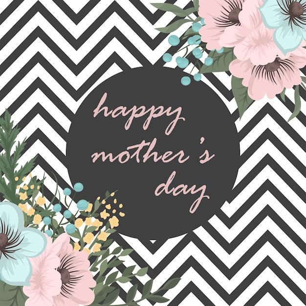 Carte de voeux fête des mères avec des fleurs de fleur Vecteur gratuit