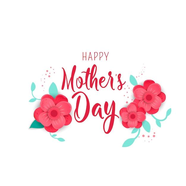 Carte de voeux fête des mères avec des fleurs d'origami de fleurs. Vecteur Premium