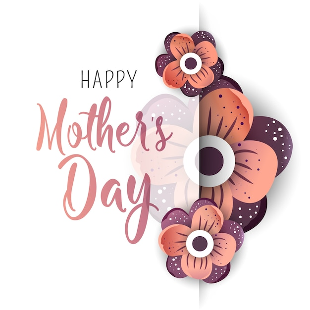 Carte de voeux fête des mères Vecteur Premium
