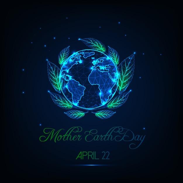 Carte de voeux de la fête de la terre-mère avec glow low poly globe map Vecteur Premium