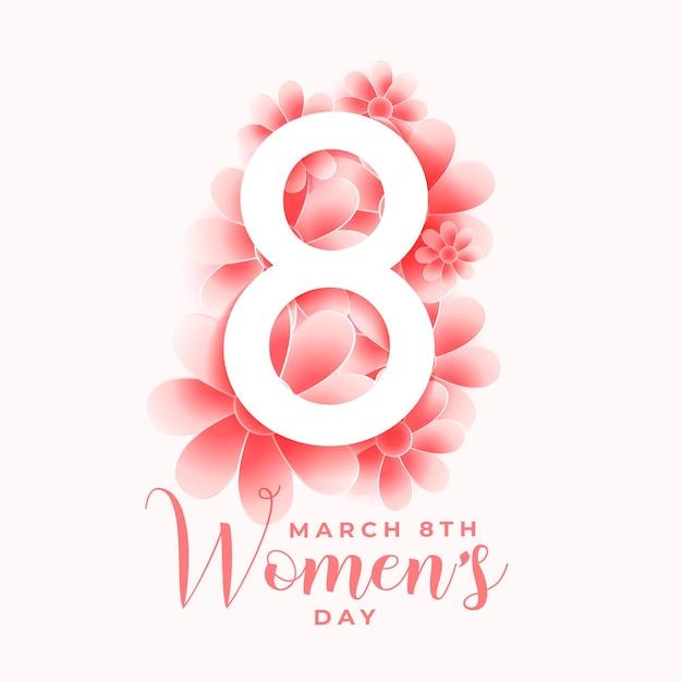 Carte De Voeux De Fleur De Jour De La Femme Heureuse Vecteur gratuit