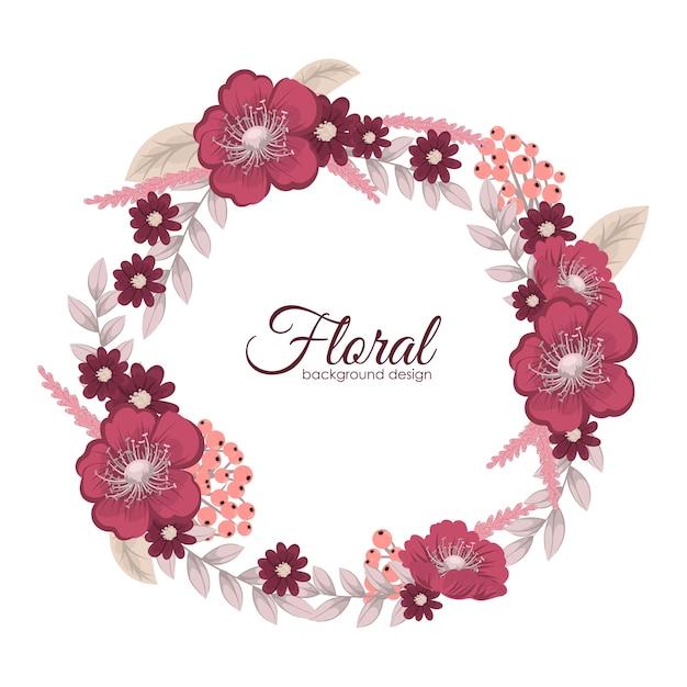 Carte de voeux avec des fleurs, aquarelle. cadre de couronne de vecteur Vecteur gratuit