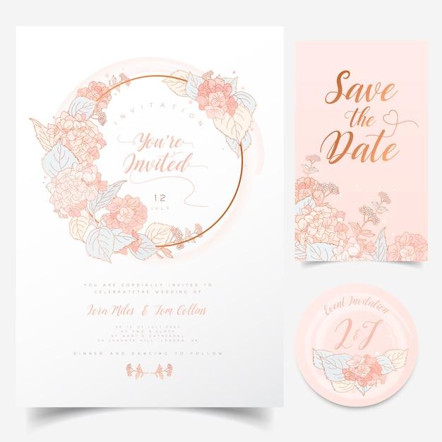 Carte de voeux floral avec couronne d'hortensia en fleurs pour invitation à un événement Vecteur Premium
