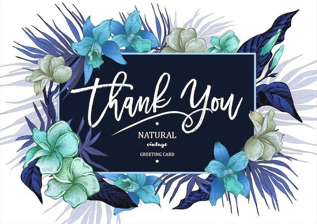 Carte de voeux floral vintage summer tropical Vecteur Premium