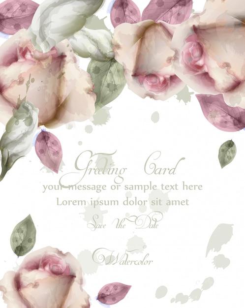Carte de voeux avec fond de fleurs à l'aquarelle Vecteur Premium