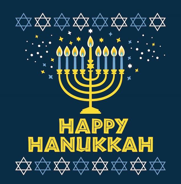 Carte de voeux hanoucca fête juive traditionnelle 'hanoucca - bougies menorah, étoile david illustration sur bleu. Vecteur Premium