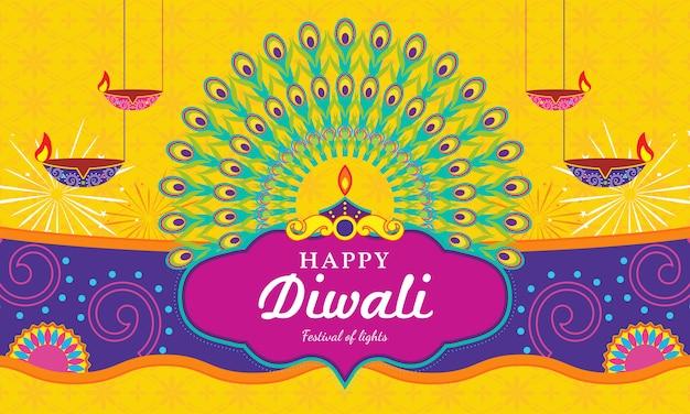 Carte de voeux happy diwali (festival de la lumière) Vecteur Premium