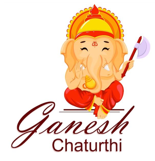 Carte de voeux happy ganesh chaturthi Vecteur Premium