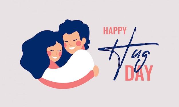 Carte De Voeux Happy Hug Day Avec Des Jeunes étreignant. Vecteur Premium