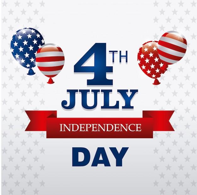 Carte De Voeux Happy Independence Day, 4 Juillet, Conception Usa Vecteur gratuit