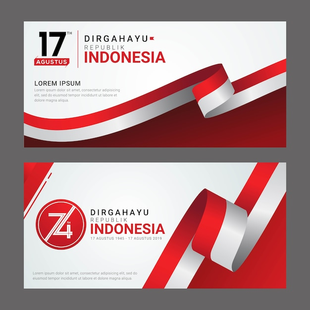 Carte de voeux happy indonesia independence day Vecteur Premium