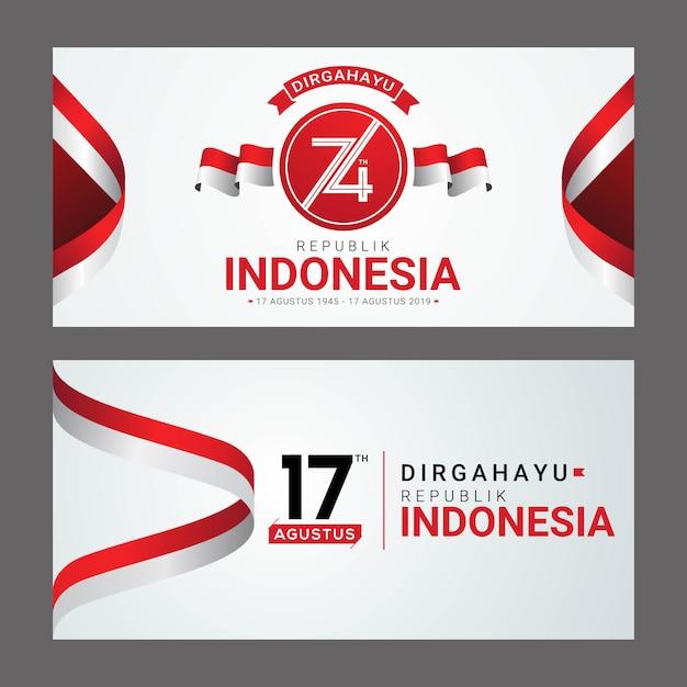 Carte de voeux happy indonesia independence day Vecteur Premium