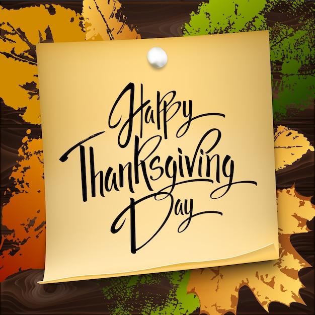 Carte de voeux happy thanskgiving day Vecteur Premium