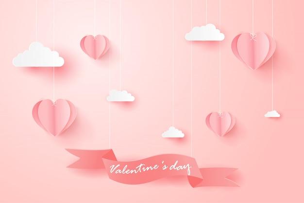 Carte de voeux happy valentines day avec des ballons en forme de coeur. Vecteur Premium