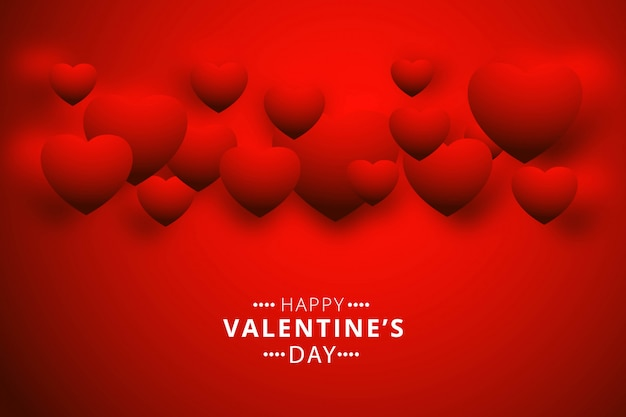 Carte De Voeux Happy Valentines Day Avec Coeurs Vecteur gratuit