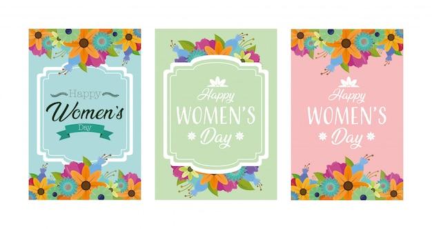 Carte de voeux happy womens day avec des fleurs Vecteur gratuit