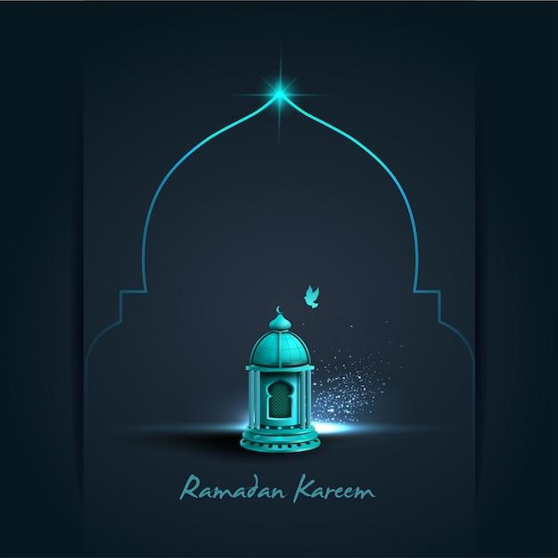 Carte De Voeux Islamique Ramadan Kareem Avec Belle Lanterne Bleue Vecteur Premium
