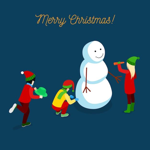 Carte De Voeux Isométrique Joyeux Noël Avec Des Enfants Faisant Bonhomme De Neige. Illustration Vecteur Premium