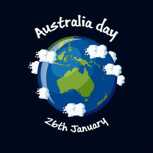 Carte de voeux de jour de l'australie, 26 janvier avec l'australie carte globe, nuages et texte. illustration vectorielle de dessin animé dans un style plat. Vecteur Premium