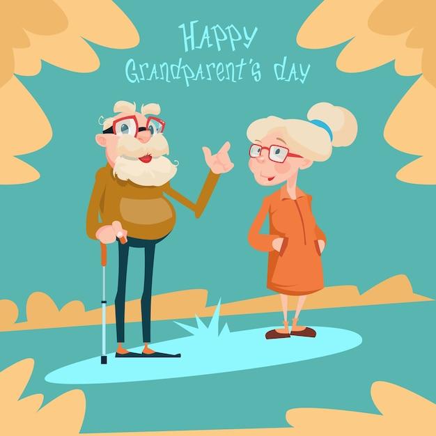 Carte de voeux de jour de grands-parents de couples de personnes âgées Vecteur Premium