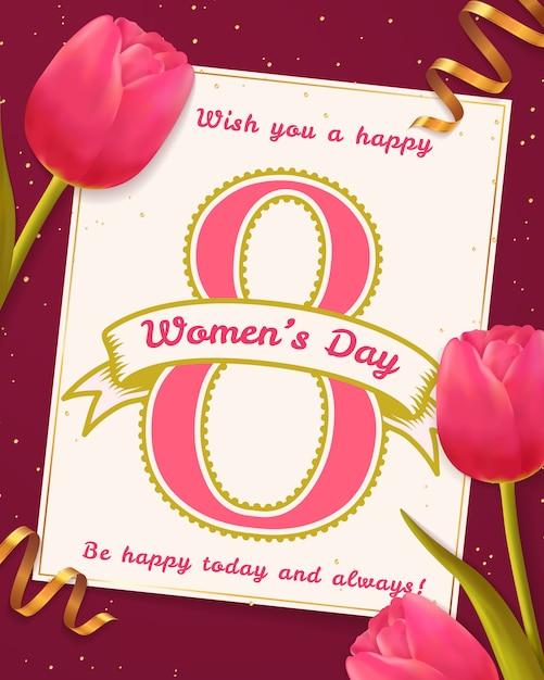 Carte De Voeux De La Journée De La Femme. Vecteur Premium