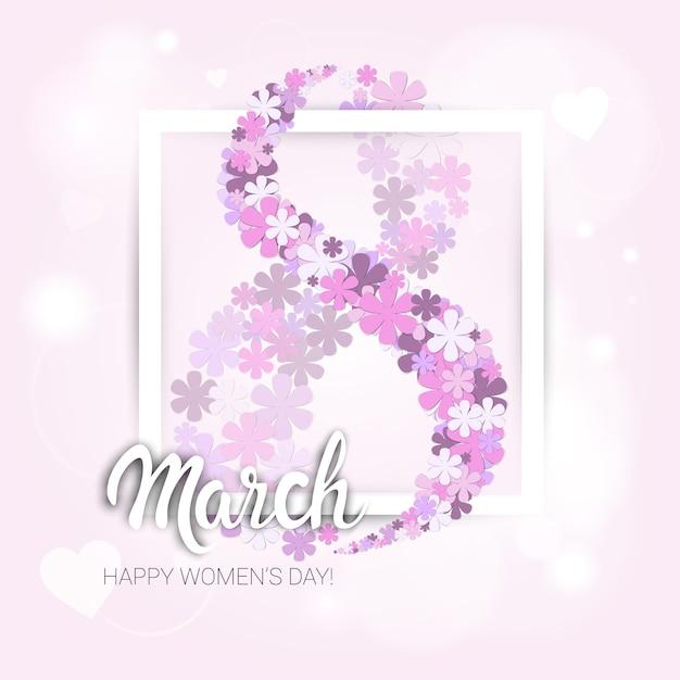 Carte de voeux de la journée internationale des femmes du 8 mars Vecteur Premium