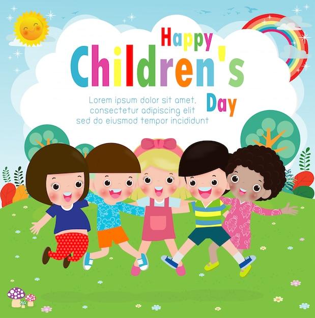 Carte de voeux joyeuse journée enfants avec un groupe d'amis diversifié de l'enfant sautant et étreignant ensemble pour une célébration d'événement spécial Vecteur Premium