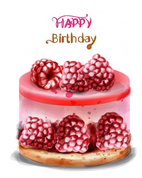 Carte de voeux joyeux anniversaire. aquarelle de gâteau d'anniversaire aux framboises. Vecteur Premium