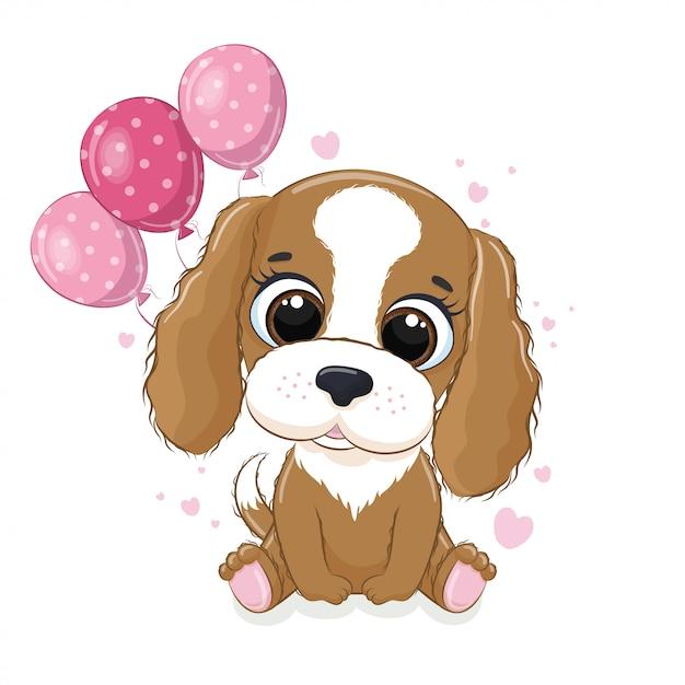 Carte De Voeux Joyeux Anniversaire Avec Chien Et Ballons Vecteur Premium