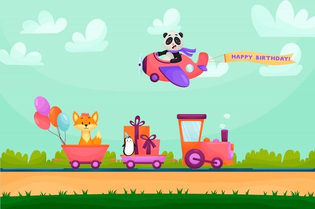 Carte De Voeux Joyeux Anniversaire Drole Animal Les Animaux Partent En Train Pour La Fete D Anniversaire Animaux Volant En Avion Dans Les Montagnes Vecteur Premium