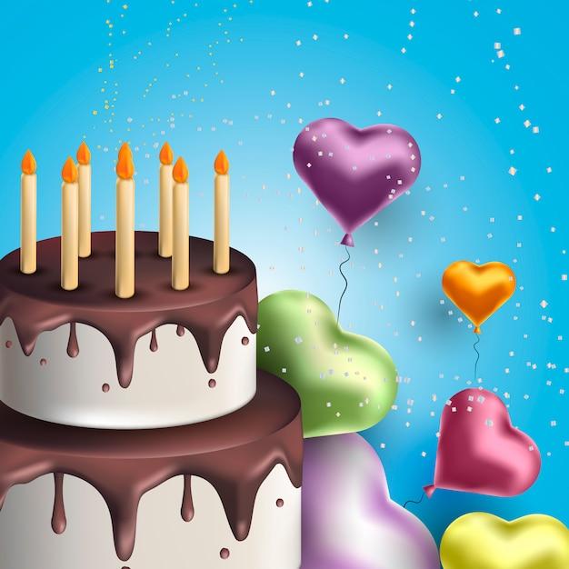Carte de voeux joyeux anniversaire avec un gâteau et des ballons Vecteur Premium