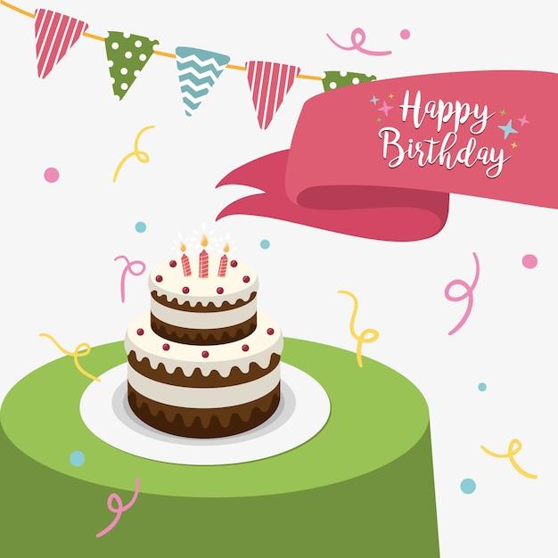 Carte de voeux de joyeux anniversaire avec un gâteau et des bougies Vecteur Premium