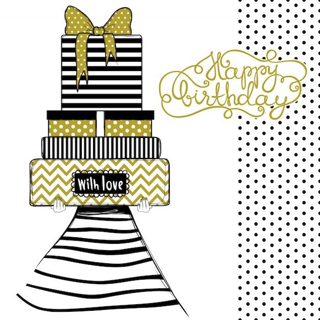 Carte De Voeux Joyeux Anniversaire, Illustration De La Jolie Fille Fashion Avec Cadeaux Et Cadeaux Vecteur Premium