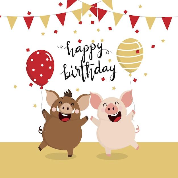 Carte De Voeux Joyeux Anniversaire Avec Sanglier Et Cochon Vecteur Premium