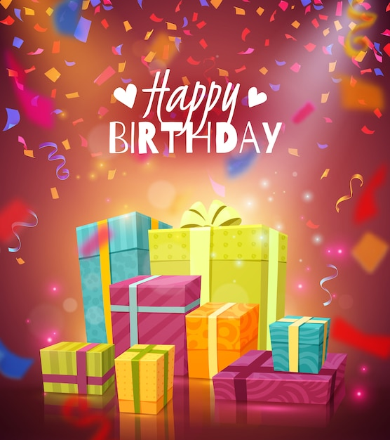 Carte de voeux joyeux anniversaire Vecteur gratuit