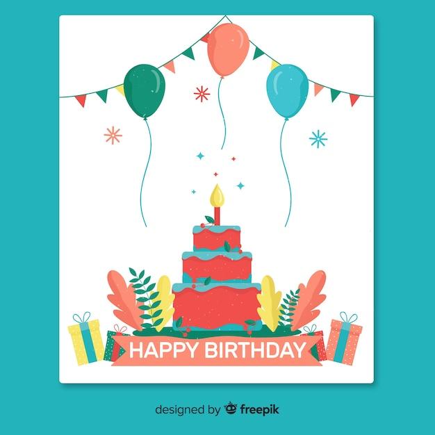 Carte de voeux de joyeux anniversaire Vecteur gratuit