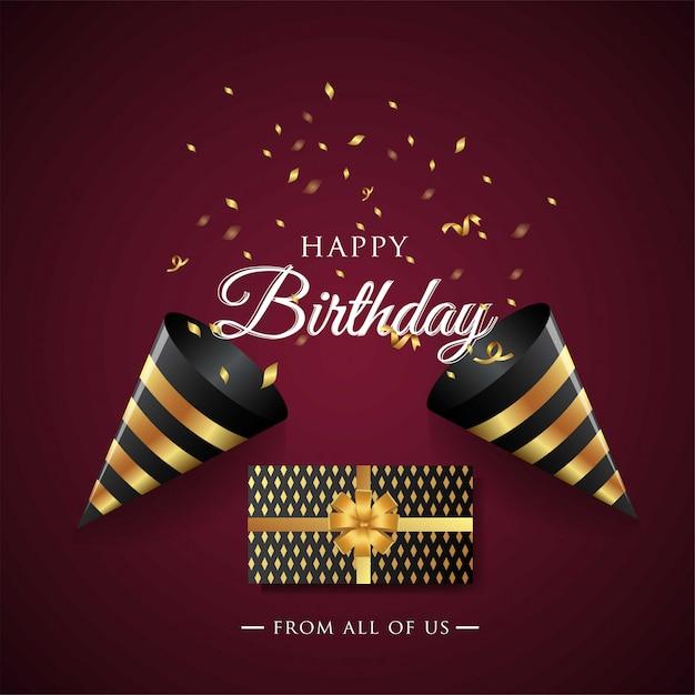 Carte de voeux joyeux anniversaire Vecteur Premium