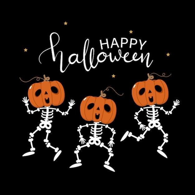Carte De Voeux Joyeux Halloween Avec Squelette Mignon Et Danse De Citrouille Vecteur Premium