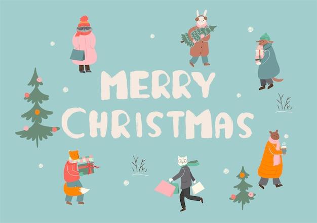 Carte De Voeux Joyeux Noël Ou Affiche. Les Animaux Se Préparent Pour Les Vacances D'hiver. Graphique. Vecteur Premium