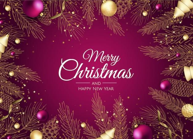 Carte de voeux joyeux noël et bonne année branches dorées Vecteur Premium
