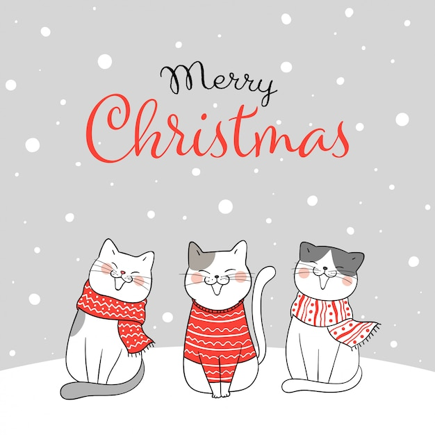 Carte de voeux joyeux noël avec des chats assis dans la neige Vecteur Premium