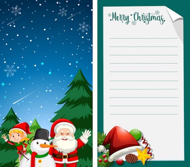 Carte de voeux joyeux noël ou lettre au père noël avec un modèle de texte Vecteur gratuit